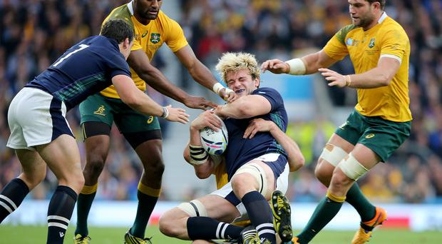 Scotland lock Richie Gray in the thick of the action against World Cup quarter-final opponents Australia