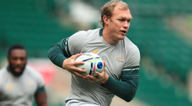 Flanker Schalk Burger in action during the South Africa captain's run at Twickenham on Friday