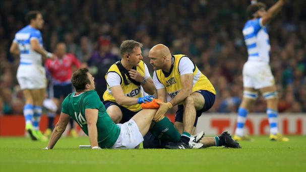 Ireland wing Tommy Bowe is treated after suffering a knee injury during the World Cup quarter-final against Argentina in Cardiff