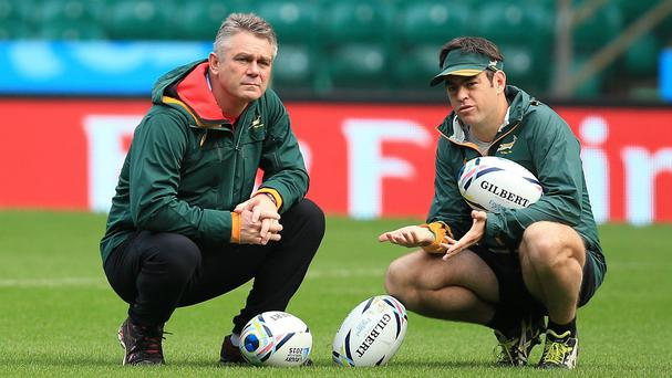 Heyneke Meyer, left, has the support of the Springboks squad
