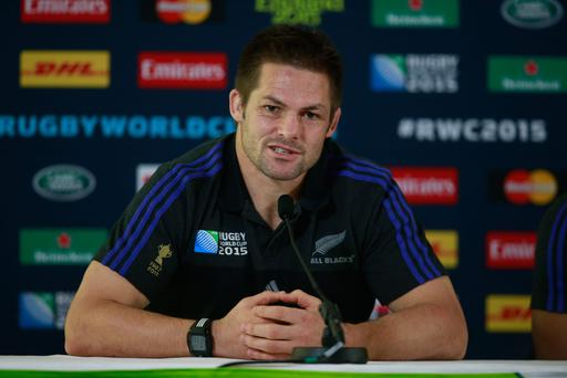 Farewell: Richie McCaw addresses he media ahead of the World Cup Final, expected to be his last All Blacks appearance