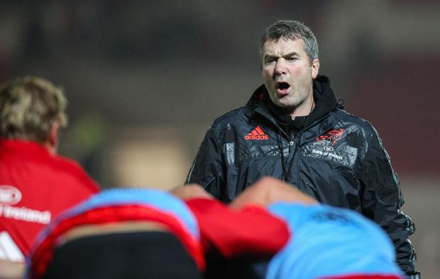 Munster's Head Coach Anthony Foley during the pre match warm up. Photographer Paul Jenkins/CameraSport Rugby Union - Guinness PRO12 - Scarlets v Munster - Friday 23rd October 2015 - The Liberty Stadium - Swansea © CameraSport - 43 Linden Ave. Countesthorpe. Leicester. England. LE8 5PG - Tel: +44 (0) 116 277 4147 - admin@camerasport.com - www.camerasport.com