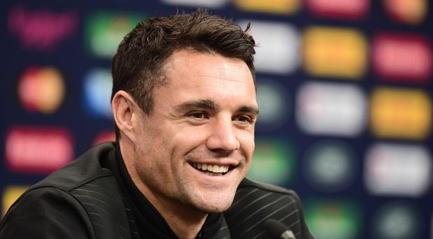 New Zealand fly-half Dan Carter during the All Blacks' eve-of-World Cup final press conference at Twickenham