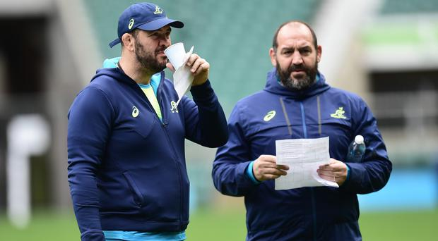 Australia coach Michael Cheika, pictured left, and assistant Mario Ledesma, right, gave an insight to their World Cup final game-plan on Friday