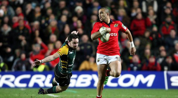 Munster's Simon Zebo scored his 39th try in 87 provincial appearances in the narrow win over Ulster