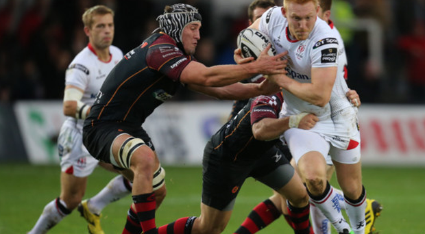 Rory Scholes of Ulster takes on Adam Hughes and Boris Stankovich of Newport Dragons