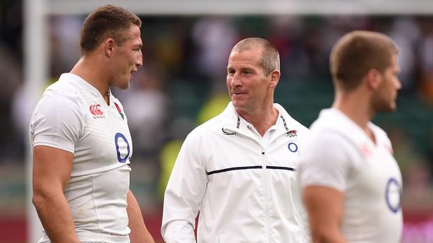 Stuart Lancaster, centre, was haunted by the controversial selection of Sam Burgess, left