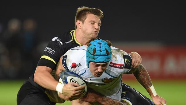 Dan Biggar, left, was a key figure as Ospreys beat Exeter