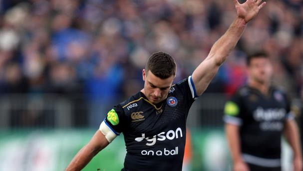 Bath's George Ford kicks a penalty during the Champions Cup match against Leinster