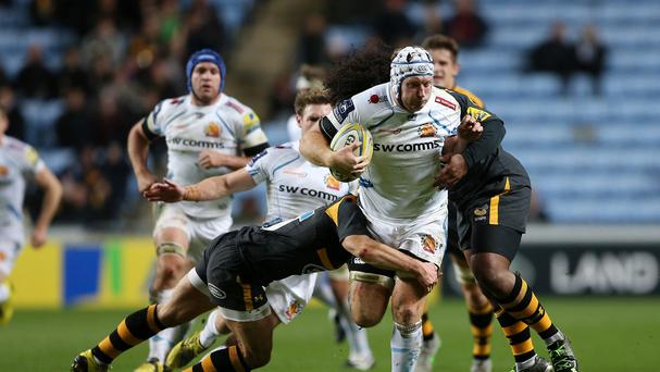 Thomas Waldrom scored three tries for Exeter against Wasps