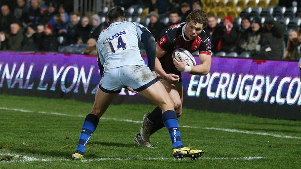 Henry Purdy, right, scored two tries in Gloucester's win