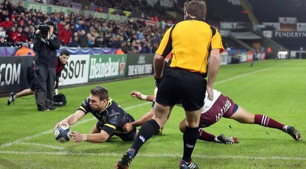 Dan Biggar scored Ospreys' only try in a win over Bordeaux