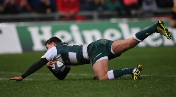 Leicester's Ben Youngs scores a try against Munster during the European Champions Cup clash in Limerick