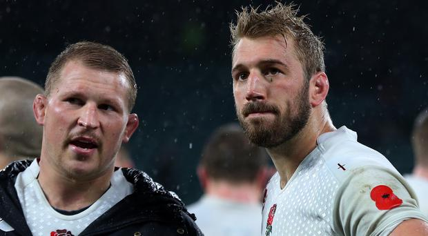 Dylan Hartley (left) could replace Chris Robshaw (right) as captain of England