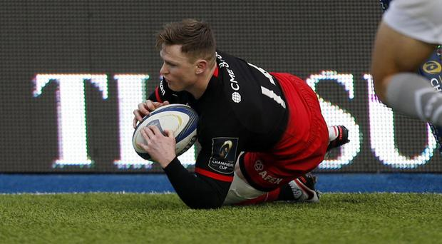 Chris Ashton completes his hat-trick against Oyonnax