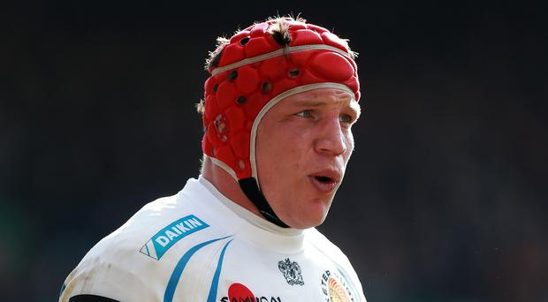 Exeter's Tom Johnson scored his team's only try in the European Champions Cup drubbing at Clermont Auvergne