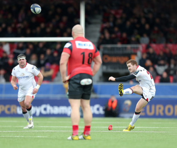 Getting his kicks: Paddy Jackson nails the decisive penalty