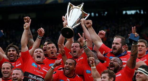 Toulon players celebrate winning the European Champions Cup
