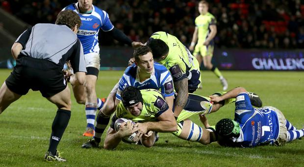 Sale's Josh Beaumont scores a try in the win over Newport