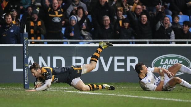 Wasps' Elliot Daly scores his side's third try of the game