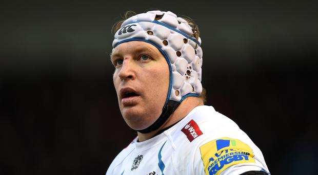Thomas Waldrom crossed twice for Exeter as they booked a place in the last eight of the European Champions Cup.