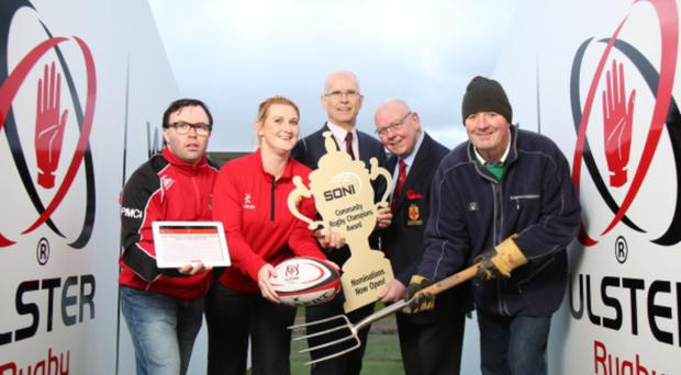 So good: at the SONI launch is (from left) Paul McIntyre, volunteer PRO, Limavady RFC; Pauline McFerran, volunteer coach, Carrickfergus RFC; Robin McCormick, General Manager, SONI; Bobby Stewart, President of IRFU Ulster Branch; David Napier, volunteer groundsman, Ballynahinch RFC