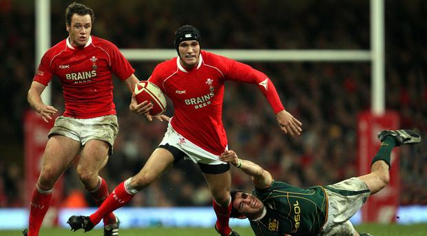 Cardiff Blues wing Tom James, centre, is relishing a return to the international arena with Wales