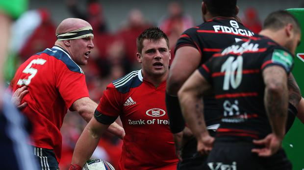 CJ Stander, centre, will make his Test debut in Ireland's RBS 6 Nations clash against Wales on Sunday