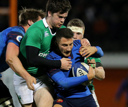 Gripping: Jimmy and Conor O'Brien of Ireland get shirty