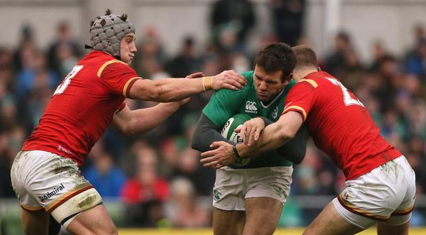 Jared Payne, centre, is now a major doubt for Ireland's RBS 6 Nations match with England at Twickenham on Saturday