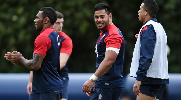 Manu Tuilagi (middle) has been named on England's bench against Wales