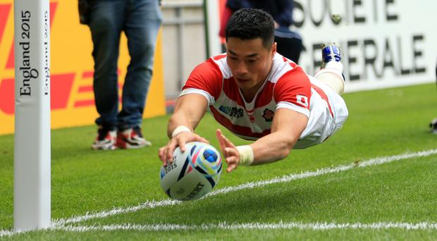 Akihito Yamada of the Sunwolves scored a hat-trick of tries in their loss to Cheetahs