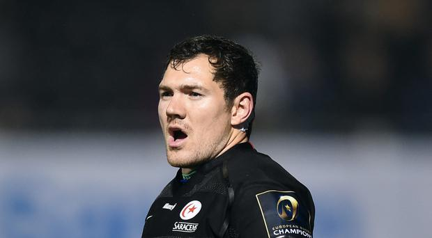 Saracens' Alex Goode scored 16 points as his side beat London Irish in a match played in New Jersey