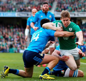 Line of duty: Andrew Trimble crosses for his try
