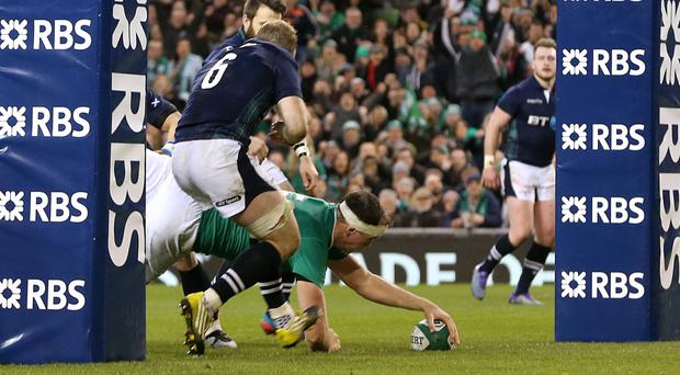 Ireland's Devin Toner scores the home side's fourth try