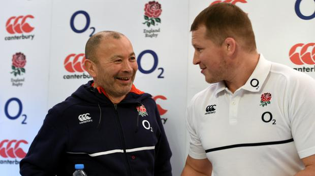 Captain Dylan Hartley, right, insists England have benefited from the policies of coach Eddie Jones, left