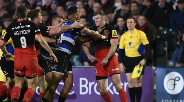 Anthony Watson was sent off in Bath's clash with Saracens