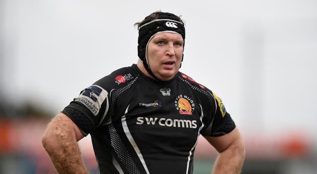 Number eight Thomas Waldrom has continued his prolific try-scoring form in Exeter colours this season