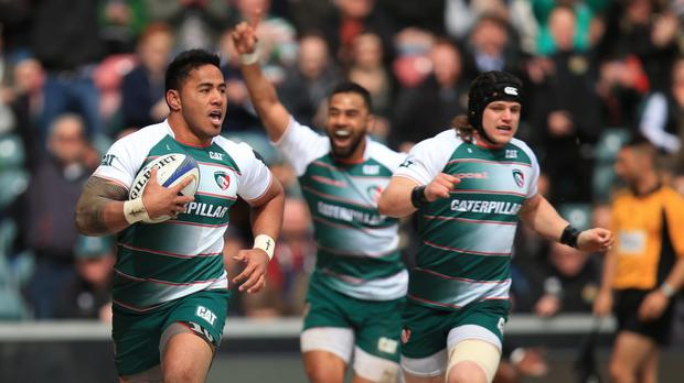 Manu Tuilagi, left, will be hoping to play a major role for Leicester against Racing on Sunday