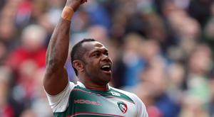 Leicester Tigers' Vereniki Goneva celebrates scoring their first try