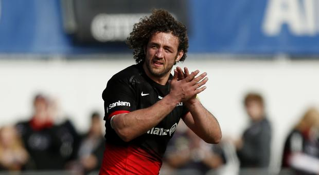Saracens' Jacques Burger bid farewell to the club after playing his last game for them in the win over Newcastle