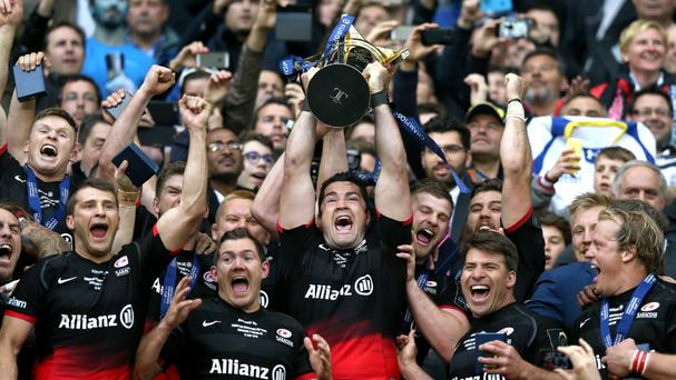 Saracens lift the Champions Cup trophy after defeating Racing 92