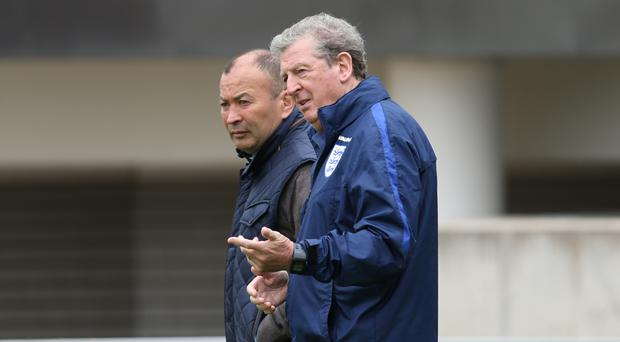England rugby head coach Eddie Jones joined Roy Hodgson ahead of their first pre-Euro 2016 friendly