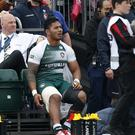 Leicester's Manu Tuilagi sustained an injury to his right leg against Saracens