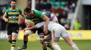 Teimana Harrison (green shirt) will make his England debut against Wales on Sunday