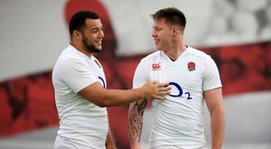 Teimana Harrison, right, lined up in an England side shorn of Saracens and Exeter players