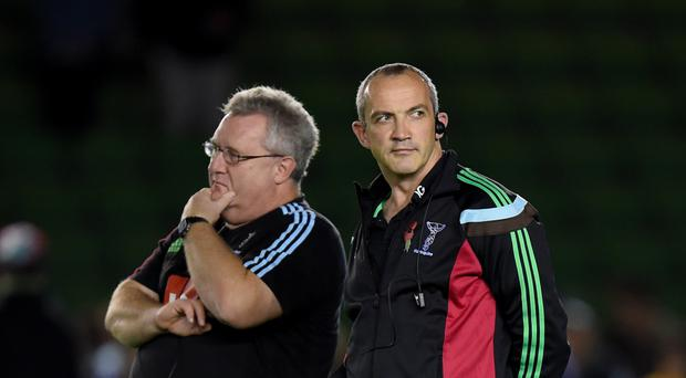 Harelquins director of rugby John Kingston, left, has boosted his forward options