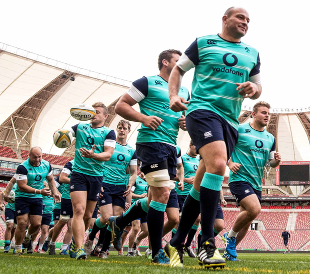 Follow the leader: Rory Best leads the Ireland Captain's Run at Nelson Mandela Stadium in Port Elizabeth yesterday