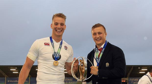 Harry Mallinder, left, helped England win Saturday's U20 final against Ireland