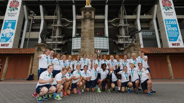 The England Women 2014 World Cup-winning squad pictured at Twickenham